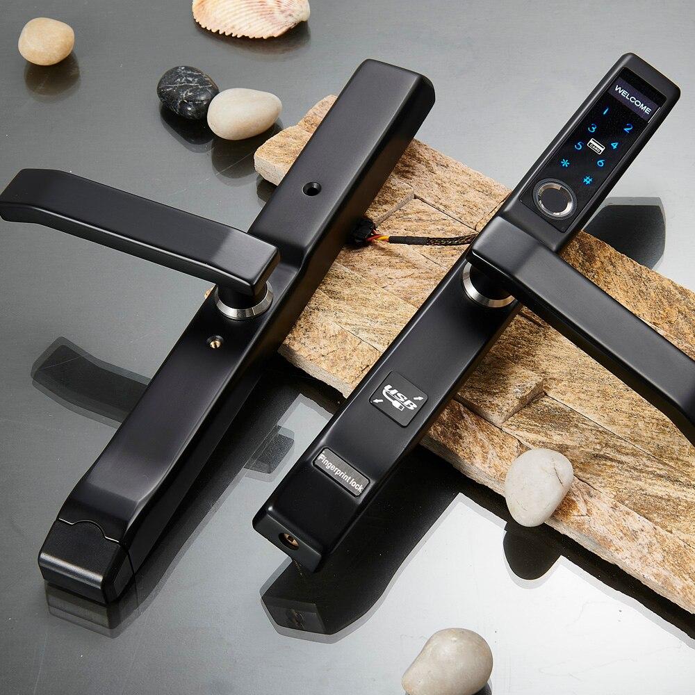In Acciaio Inox 304 di Alluminio di Impronte Digitali serratura per porta scorrevole in colore Nero