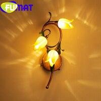 Фумат желтый тюльпан цветок позолота Европейский Стиль Стекло оттенок бра 3LED G4 лампы ретро роскошный декоративный светильник