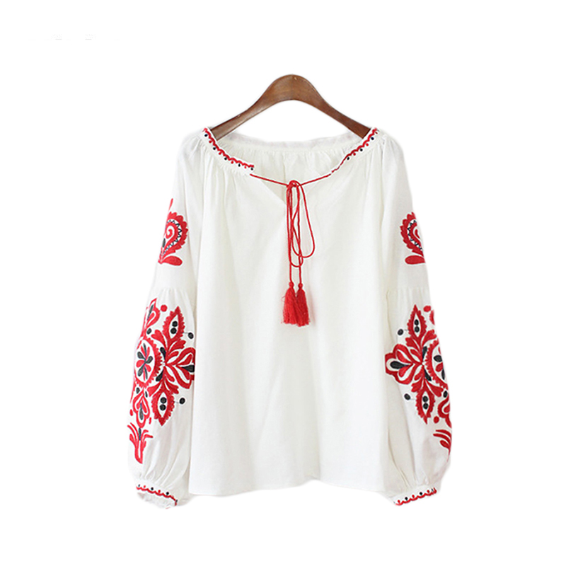Vintage Ethnic Flower Embroidery Blouse Women Shirt Tassel Lace Up Collar Ladies Top Femme Long Sleeve Plus Size Blusa E0454