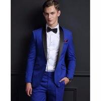 Новый костюм Костюмы Королевский синий жениха Смокинги для женихов Groomsmen Свадебная вечеринка ужин Best человек Костюмы блейзер