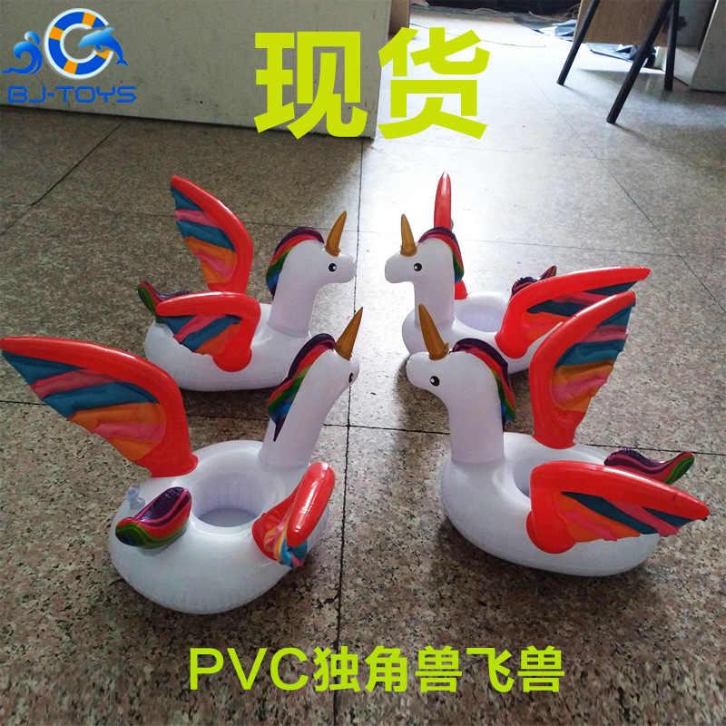 Suporte De Copo de água inflável DO PVC one-Íris besta com chifres flutuante coaster flamingo inflável donut lemon montanha russa de água