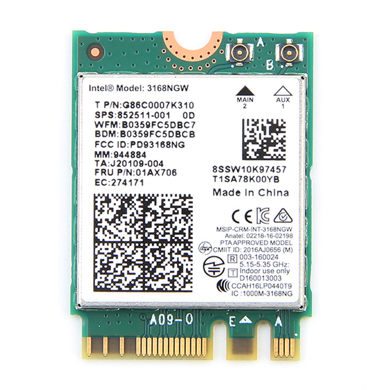 New Wireless for Intel 3168 AC Dual band 3168NGW 433Mbps Bluetooth 4.2 802.11ac NGFF WiFi Network Card 3168ac For Laptop