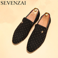Men Shoes Luxury Brand Rhinestone Loafers Fashion Silver Gold Spike Flats Studded Leisure Footwear River Oxford