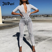 JillPeri New Women Sexy Deep V Neck Zipper Jumpsuit Lace Up High Waist Daily Outfit Club Street Wear Glitters Metallic Jumpsuit