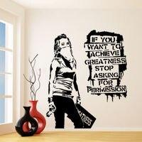 G118 Banksy Vinyl Wall Decal Want To Achieve Greatness Graffiti Street Art Sticker Creative Vinyl Wall