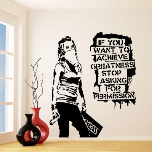 G118 Banksy Vinyl Wall Decal Want to Achieve Greatness, Graffiti Street Art Sticker Creative vinyl wall stickers decorative