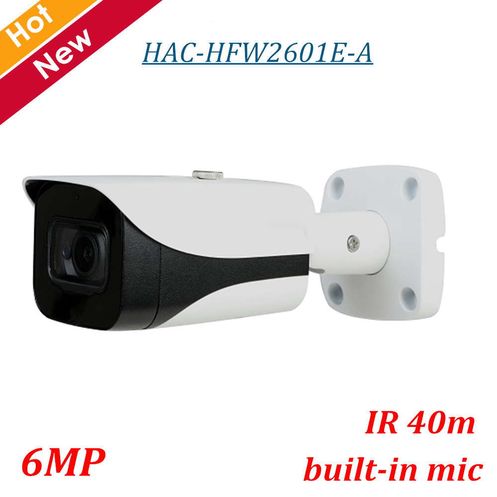 6MP DH HDCVI Camera Outdoor Waterproof IP67 HDCVI Camera HAC-HFW2601E-A 6MP WDR HDCVI IR Bullet Camera Smart IR Distance 40m блок питания atx foxconn fx g500 80 500w
