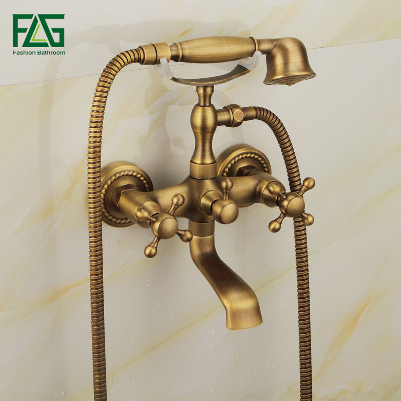FLG High Quality Rain Shower Faucets Tap With Handheld Head Antique Brass Wall Mounted Bath Shower Faucet Set Bathtub Faucets bathtub faucets antique brass bath rain shower faucet head and handheld shower faucet 2 handel bathroom wall mounted tap lj10119