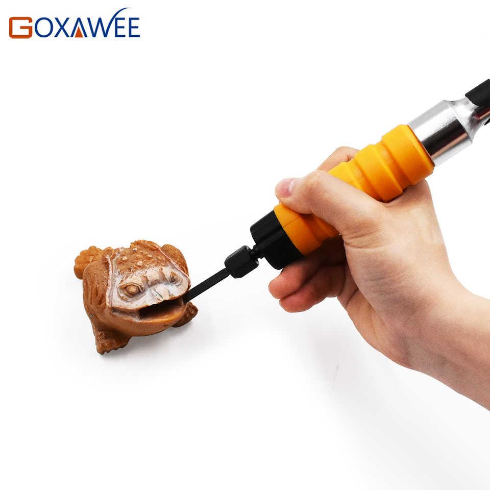 GOXAWEE perceuse électrique ciseau à bois outil de sculpture ensemble avec embouts Flexible arbre clé mandrin fixation pour outils de travail du bois