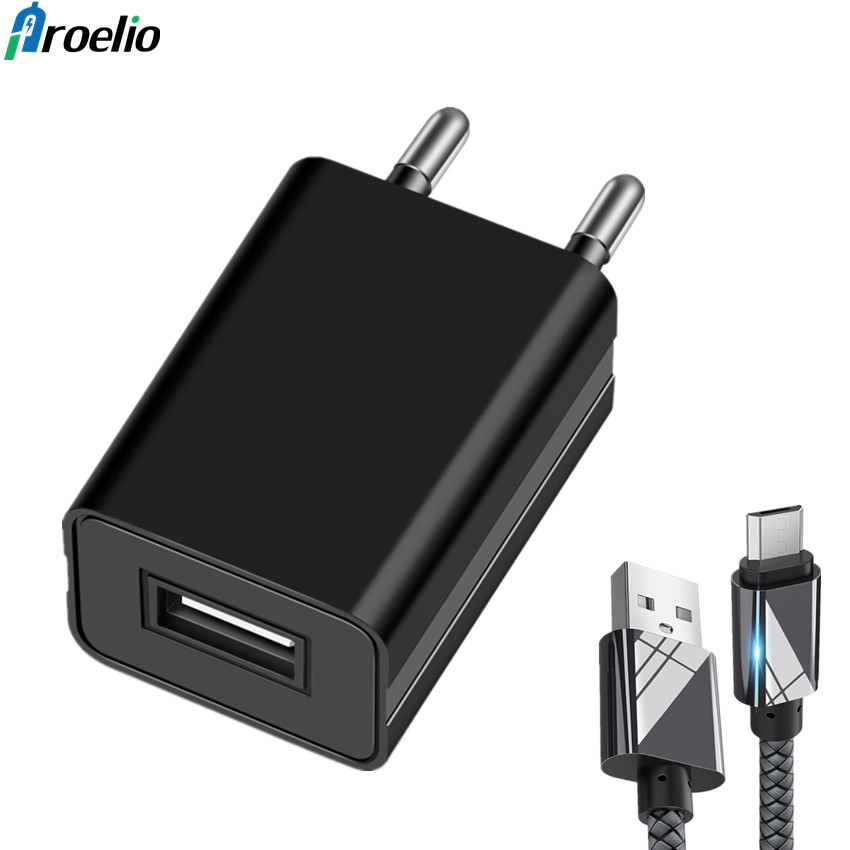 Proelio Mobile Phone Charger 5V1A USB Travel Charger Portable Wall Adapter for Xiaomi Samsung LG iPhone iPad EU Plug Black/White