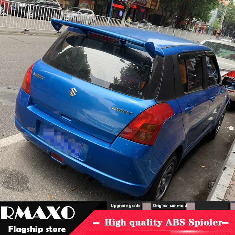 For <font><b>SUZUKI</b></font> <font><b>Swift</b></font> Spoiler 2007-2017 <font><b>SUZUKI</b></font> <font><b>Swift</b></font> High Quality QQWX ABS Material Car Rear Wing Primer Color Rear Spoiler image