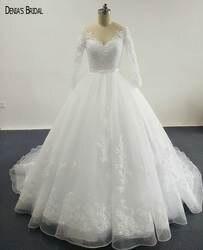 2017 бальное платье Элегантный Свадебные платья с прозрачными Scoop декольте аппликации рукавов суд Поезд Пользовательские Свадебные платья