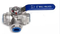 DN20 3/4 3 Way Female BSP 304 SS Stainless Steel Type T or L Port Mountin Pad Ball Valve Vinyl Handle WOG1000