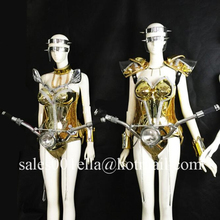 Silver Gold Plated Led Luminous Ballroom Sexy Women Costume With Locomotive Head For Party Evening Stage Dress Fashion Clothing