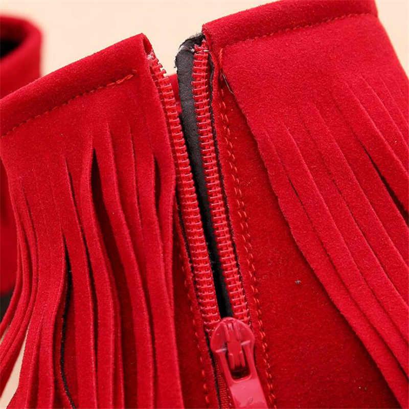 MHYONS בנות מגפי סתיו וחורף 2018 חדש בנות טאסל מגפי ילדי מרטין מגפי בנות חם שלג מגפי כותנה נעליים zip