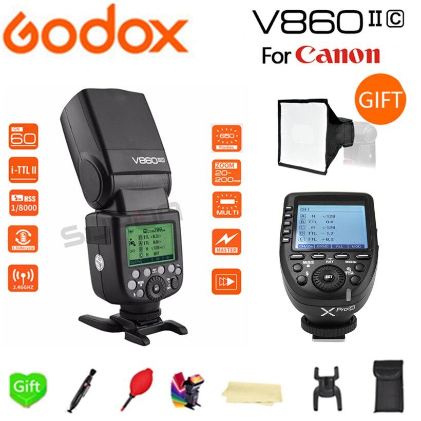 Paypal Accpect, Godox Flash V860II-C Li-sur Batterie E-TTL HSS 1/8000 s Flash Speedlite + Xpro-C pour Canon 60D/650D/80D Caméras