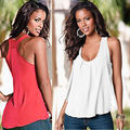 Fashion Women Summer Casual Tops Sleeveless Chiffon Vest T-Shirt New BEACH Red Losse Plue SIZE