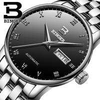 Echt Zwitserland BINGER Merk Mens automatische mechanische self-wind saffier horloges mannelijke kalender volledige staal waterdicht tafel