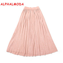 ALPHALMODA 2017 Knee Length Pleated Knitted Skirts Sparkling Threads Solid Color Graceful Knitting Skirts