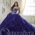 Luxo Basque Vestidos Quinceanera 2016 Organza Big Floral Ruffles Doce 16 vestido de Baile Pageant Beading Querida Debutante Vestido
