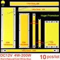 10 pçs/lote 12 V COB LED Strip Fonte de Luz 5 W 10 W 20 W 50 W 200 W Flip Chip Natural Quente Frio Branco Azul Bar LEVOU Matriz Lâmpada do Bulbo