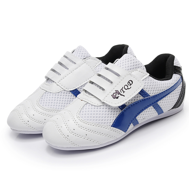 Синий белый тхэквондо обувь для взрослых детей дышащая нескользящая Мягкая оксфордская обувь Professional Kung Fu боевые искусства тренировочные кроссовки