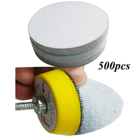 500pcs/pack 2 inches 80 800 Grit White Adhesive Sanding Disc Sand Paper for Abrasive Polishing Tools