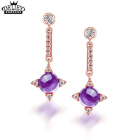 DELIEY Genuine 925 Sterling Silver Lucky Clover Design Natural Amethyst Drop Earrings For Women Party Fine