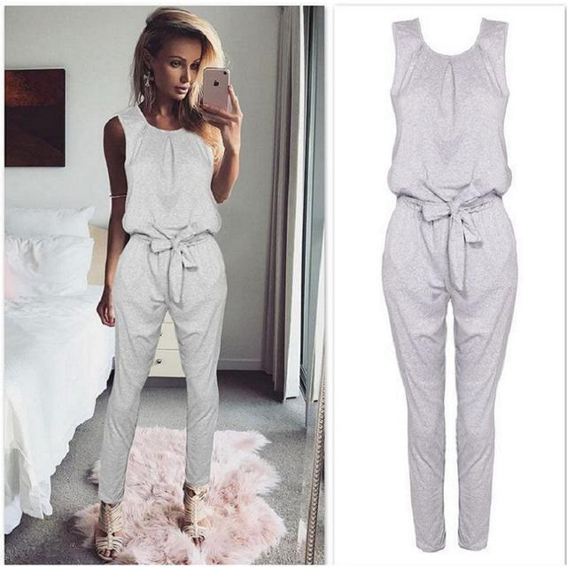 4f6cb8f41aa 2017 Fashion Romper Long Pants Jumpsuits Jumper Sleeveless Waist Tie Bow Body  Suit Runway Tracksuit Casual Women Jumpsuit