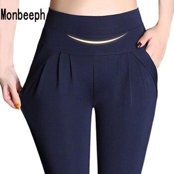 New Fashion Women's Elegant High Waist Casual pencil Pants Ladies Candy Color Wild Pocket Office OL Pants Plus Size 4XL Trousers Pants & Capris