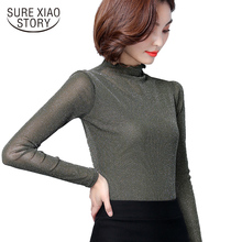 2017 winter new high collar long sleeves women lace blouse shirt Bright wire  spliced women clothing solid women's shirt 183i 30