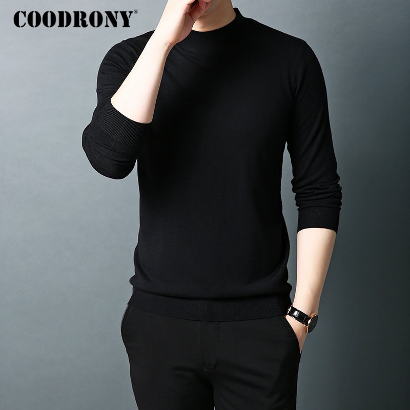 COODRONY Brand Sweater Men Autumn Winter Turtleneck Wool Sweaters Classic Pure Color Pullover Men Warm Knitwear Pull Homme 91066