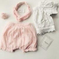 בגדי ילדים החדשים קיץ תינוק חמוד בנות קפלי תחרה + מכנסיים שיתאימו לילדים ורוד קצר
