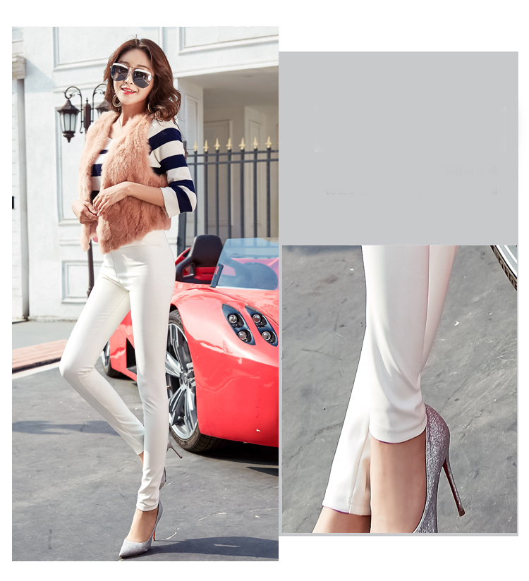 Autumn Winter Women Thin Velvet PU Leather Pants Female Sexy Elastic Stretch Faux Leather Skinny Pencil Pant Women Tight Trouser 27