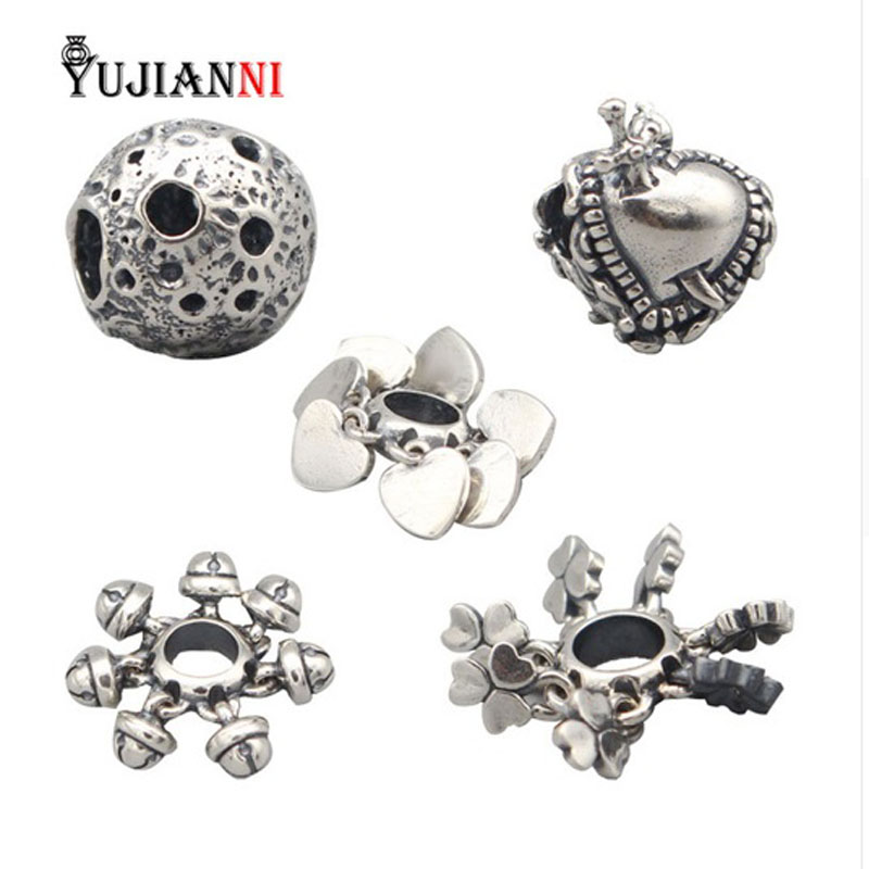 Luna/Lucky Moves/Lovely Hearts/Lucky Bells Beads S925 Silver Charms DIY Jewelry Making Fits Original Troll Bracelet & Necklace chic bells necklace