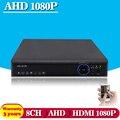 1080 P AHD AHD DVR 8 canais HDMI 1080 P 8ch Híbrido DVR função P2P HVR Onvif NVR para câmera ip de segurança CCTV DVR gravador