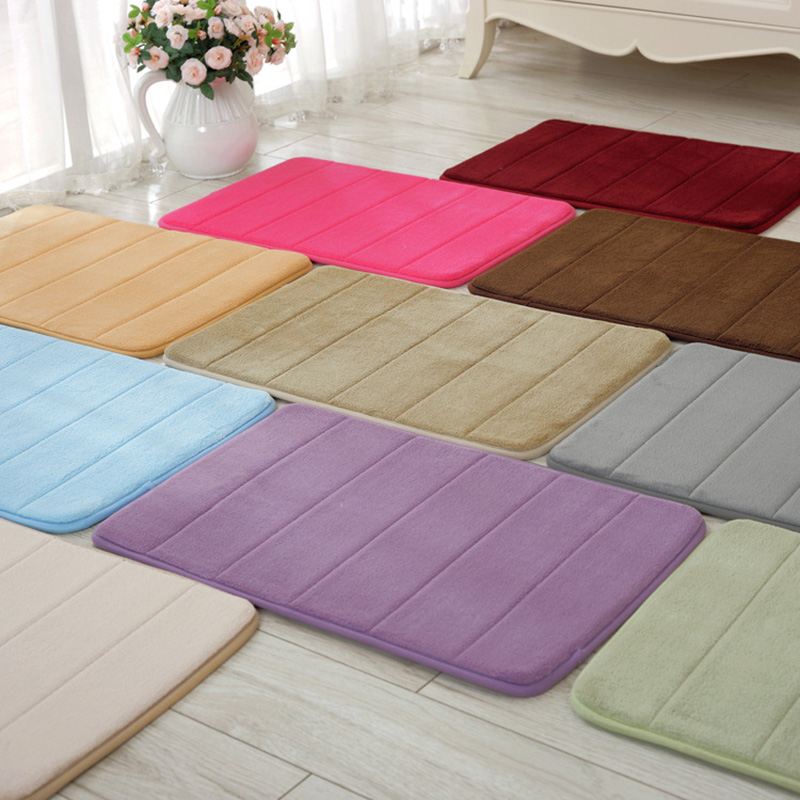 40x60cm Memory Foam Bath Mats Bathroom Horizontal Stripes Rug Non-slip Bath Mats A