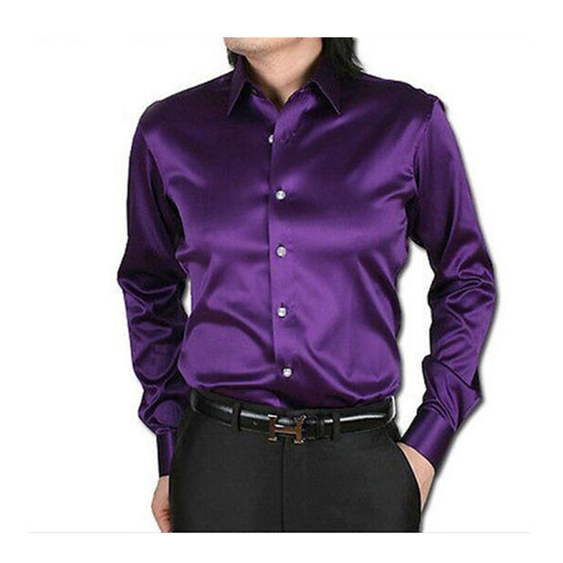 29-1 Purple Leisure Clothing Wedding Prom Emulation Silk Long Sleeve Shirts Men\`s Casual Shirt Shiny Satin Formal Party Shirt