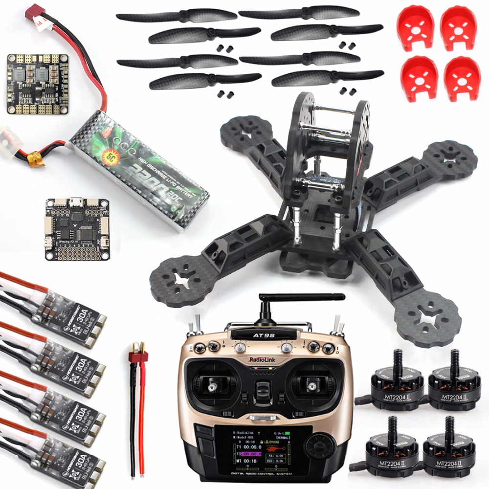 DIY Toys RC FPV Drone Mini Racer Quadcopter Kit 190mm SP Racing F3 Deluxe Flight Controller 2200mah Battery Radiolink AT
