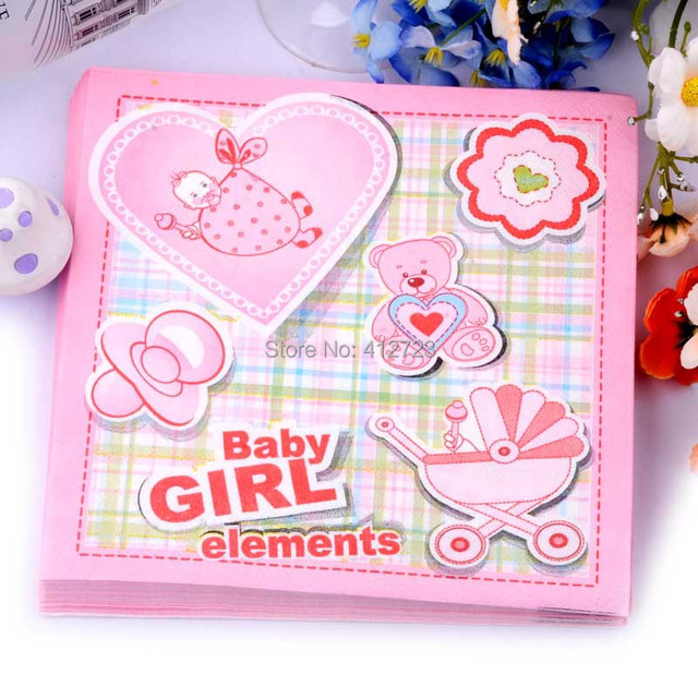 Pink Baby Girl Pattern Napkin Paper For Baby Shower Party Decoration