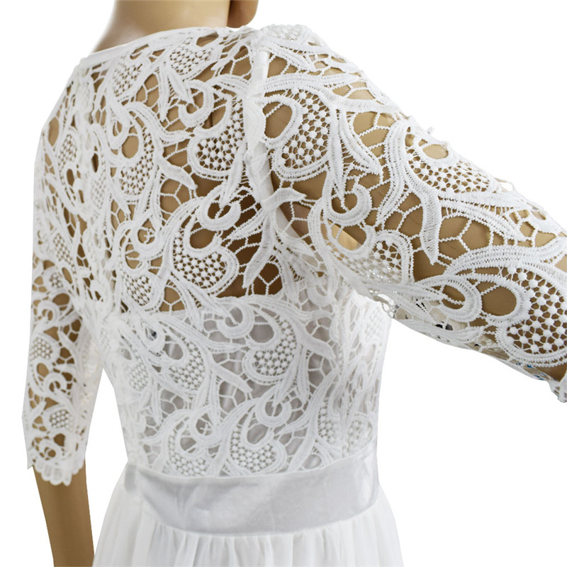 c267beea38 SEBOWEL 2019 Women Long Chiffon Dress Half Sleeve Maxi Gown ...