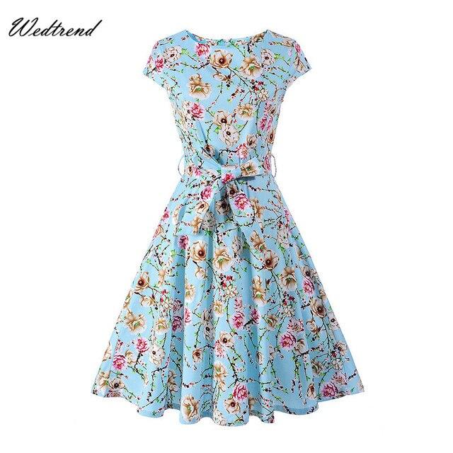 Wedtrend Audrey Hepburn Style Rétro Robes Imprimer Fleurs Ceintures 1950 s  1960 s Femmes Vêtements Pas 8474f1f44