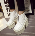 Botines Tacon Mujer Black /White Platform Boots Punk Rock Motorcycle Boots Fashion Chunky Ankle Boots High Heel Martin Boots
