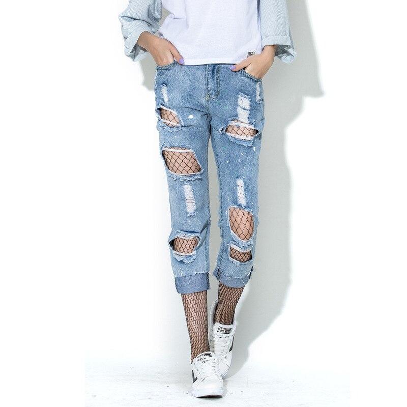 Fashoin Denim Jeans Woman 2017 Vintage Hollow Out Ripped Light Blue Jeans Pants Summer Streetwear Jeans Female Capris