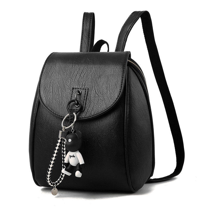 Small Women Backpacks Small Bear Pendant Pu Leather Student Backpack Preppy Style Backpack Girls Women's Back Pack 448