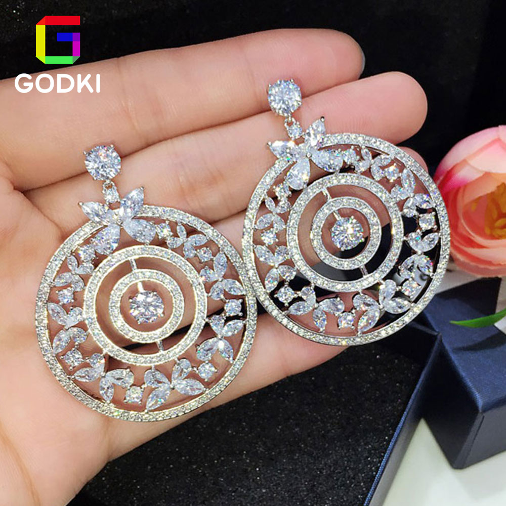 GODKI Hollow Leaf Flower Climbers Round Circle Cubic Zircon Women Engagement Earrings Jewelry Party Gift godki hollow leaf flower climbers round circle cubic zircon women engagement earrings jewelry party gift