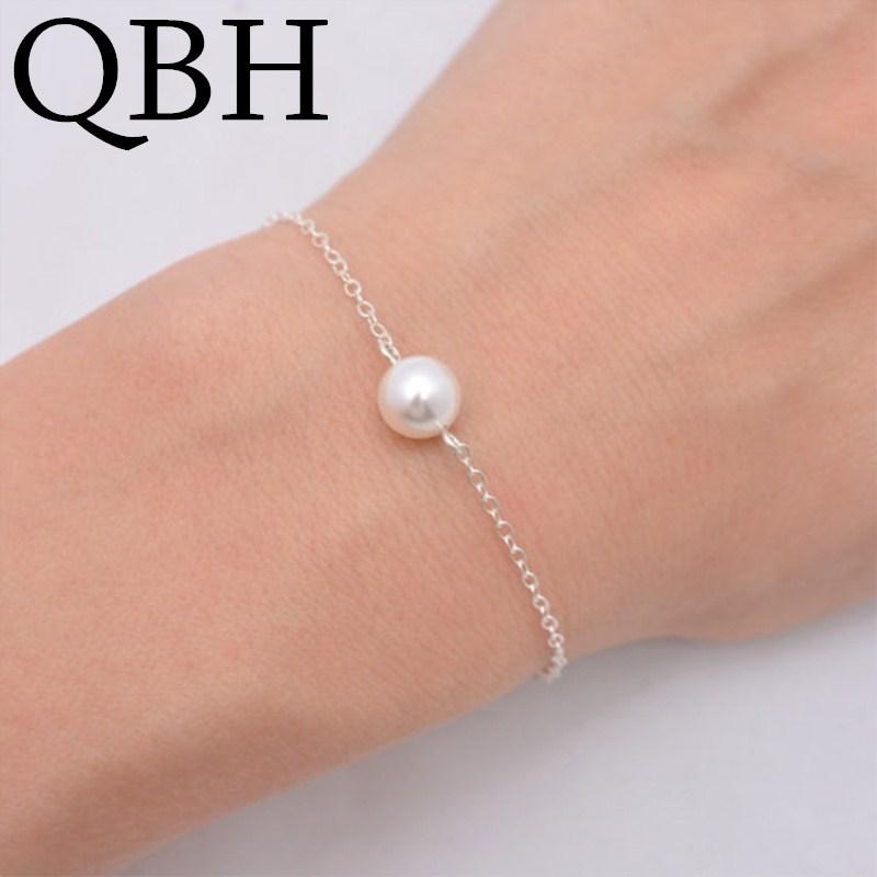 L1021 Minimalist Men Charm One Simulated Pearl Bracelets Women Dainty Tiny Bracelet Jewelry Female Girl Cute Trendy Pulseira