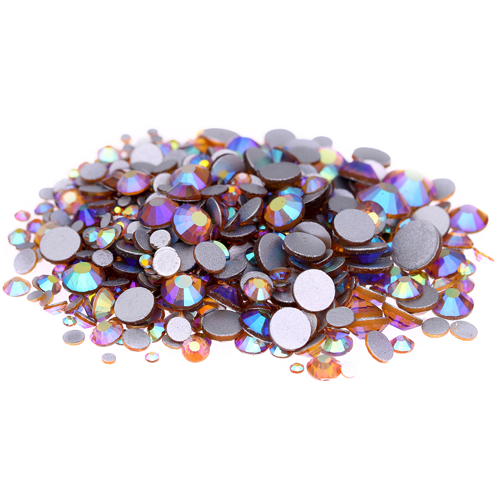 Topaz AB Non Hotfix Crystal Rhinestones SS3-SS30 And Mixed Sizes Glue On Shiny Glass Chatons DIY 3D Nails Art Accessories 1pack colorful mixed size nail art rhinestones shiny ab crystal non hotfix flatback glass 3d diy gems manicure nails decorations