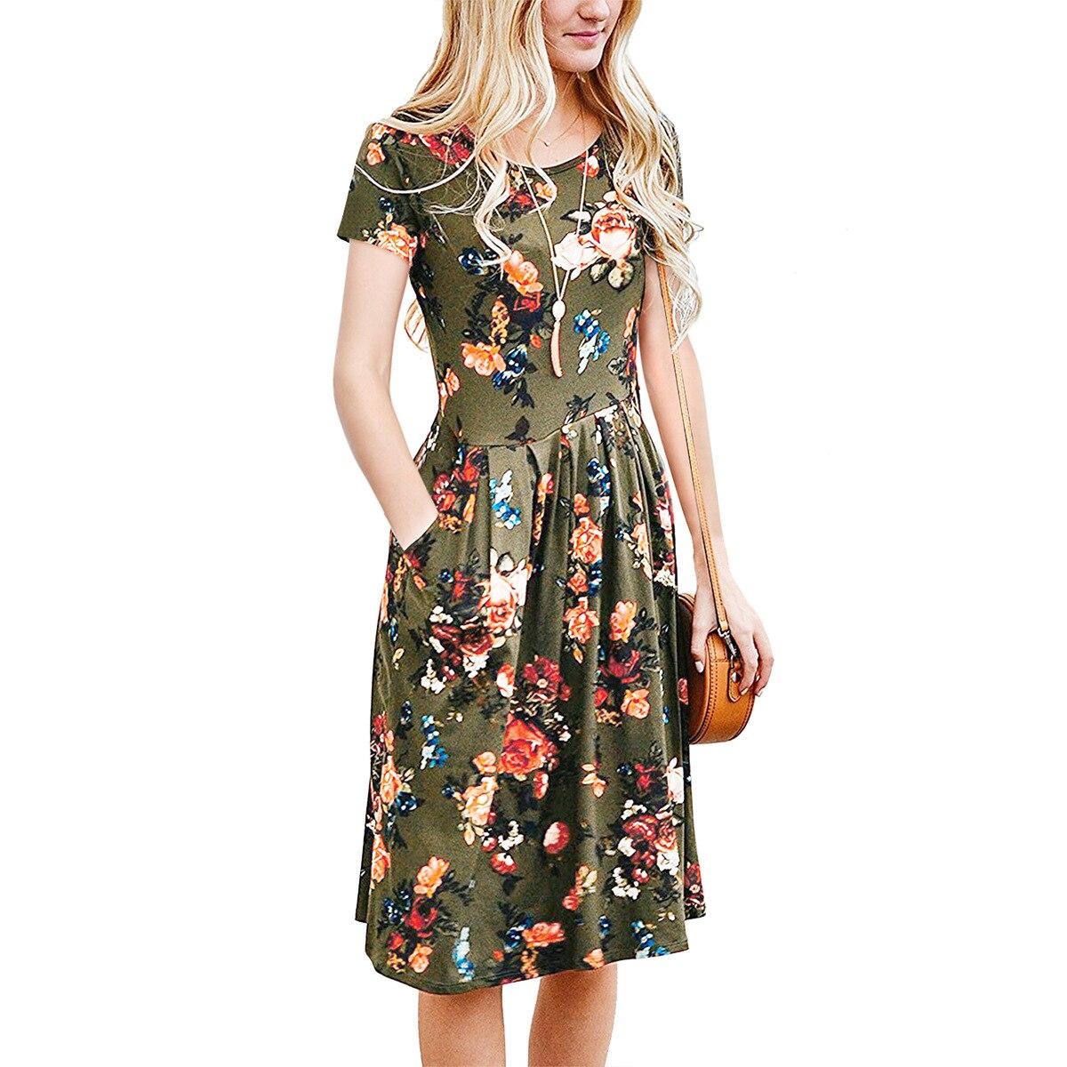 OUSIDI 2018 Sommar Kvinnor Mode Slim Elegant Party Dress Dam Casual - Damkläder