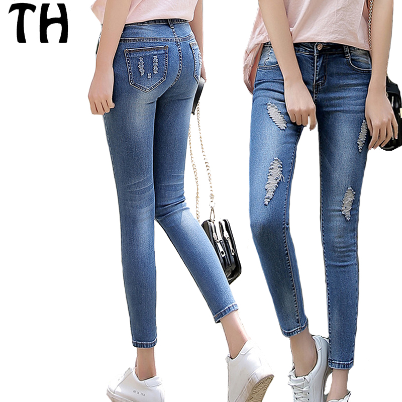 2017 Slim Fit Stretch Ripped Jeans For Women Skinny Denim Jeans Pant Femme  Pantalon Mujer  161318 a6b0a475d8
